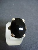 Sterling Onyx Ring - Large Black Onyx