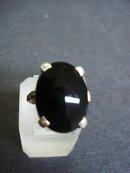 Sterling Onyx Ring - Large Black Onyx