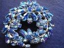 Gustav    Gustave Sherman Rhinestone Brooch Iridescent Blue Signed
