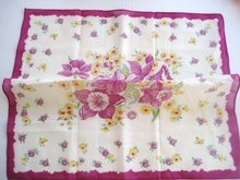 Very Pretty Handkerchief Hanky Purple Orchids