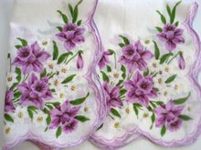 Handkerchief Hanky Purple and White