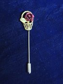 Pretty Stick Pin Velvety Red Rose