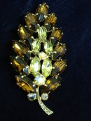 Rhinestone Leaf Broach Topaz/Citrine