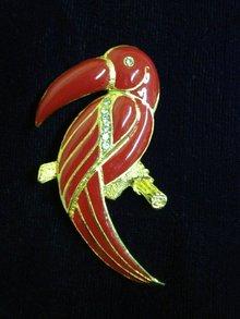 Jewelled Toucan Brooch Red Enamel