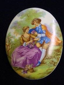 Romantic Porcelain Broach Courting