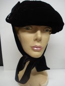 Antique Ladies Hat Black Velvet