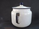 Antique Kitchen Pot White Enamel