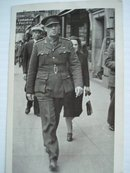 Real Photo 1940 Army Officer Walking
