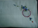 Vintage Hanky Embroidery Blue Roses