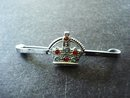 Jewelled Crown Pin Silver Tone