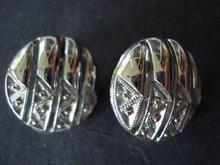 Clip Earrings by Monet Silver Tone