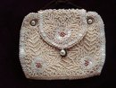 Exquisite French Beaded Vintage Bag Purse Ivory Colour Made in France