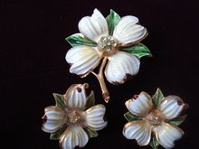 Antique Brooch and Earrings 3 piece Set