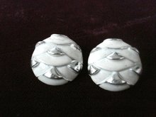 Very Pretty Enamel Clip Earrings Silver White