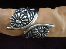 Sterling Cuff Bracelet Large - Embossing
