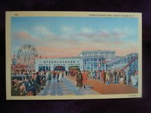Linen Postcard New York Steeplechase Park