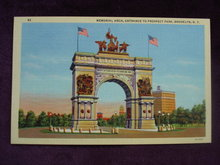 Linen Postcard Entrance to Prospect Park Brooklyn N Y