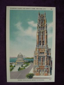 Linen Postcard Riverside Church/Grant's