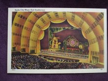 Linen Postcard Radio City Music Hall