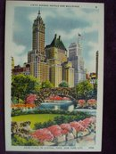 Collectible Linen Postcard Fifth Ave Hotels