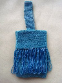 Antique Beaded Bag Shimmering Blue