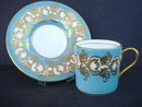elegant Aynsley Demitasse Set Jewel Turquoise