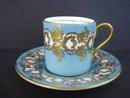 elegant Aynsley Demitasse Set Jewel Turquoise