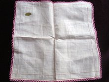 Vintage Irish Linen Handkerchief  Lace Border