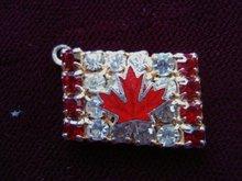Rhinestone Charm Canadian Flag