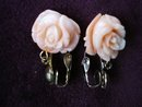 Vintage Bakelite Earrings Dangling Coral Rose