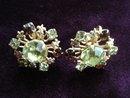 Antique Rhinestone Earrings Clear/Amber