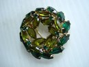 Rhinestone Brooch Emerald Green