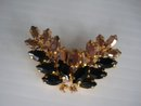 Rhinestone Brooch Black and Gold Stones