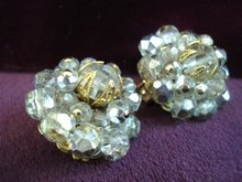 Clip Earrings Smoky Topaz Crystal