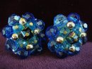 Clip Earrings Blue Crystal