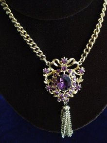 Beautiful Coro Pendant Amethyst Color Rhinestone