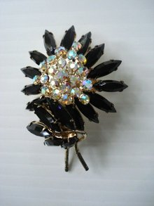 Brooch Earrings Set  Black Rhinestone Flower