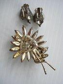 Brooch Earrings Set  Black Rhinestone Flower