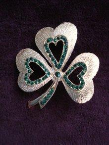 3 Leaf Clover  Brooch Tiny Rhinestones