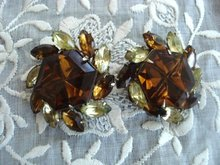 Fabulous Topaz  Rhinestone Earrings