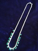 Sterling Necklace Emerald Green Crystal