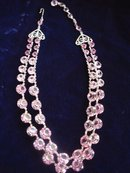 Crystal  Necklace Pink and Silver