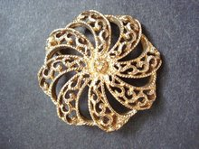 Filigree Brooch Vintage Gold Tone