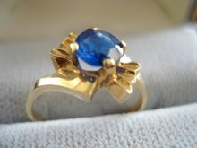 Great Antique Gold Ring Blue Sapphire Color Stone