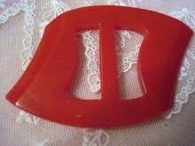 CHERRY RED DECO BAKELITE BELT BUCKLE