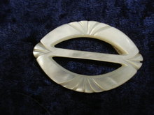 Fantastic Hand Carved Belt Buckle Mother of Pearl