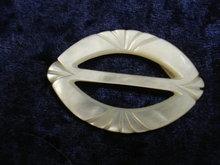Fantastic Hand Carved Belt Buckle Mother of Pearl