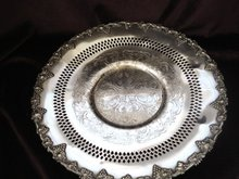 Silver Serving Platter Grape Pattern