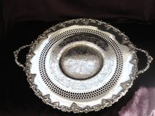 Silver Serving Platter with Handles