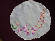 Fantastic Antique Organdy Doily Embroidery